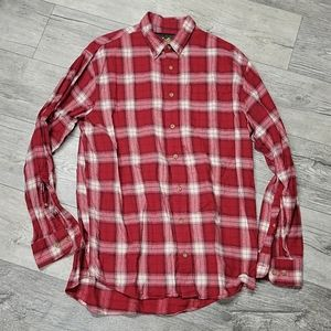 Cabelas Size L Tall Red Checkered Button Up